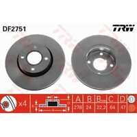 TRW 2x Bremsscheiben belüftet lackiert schwarz DF2751