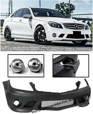 AMG Style NO PDC Front Bumper Cover + Fog Lights For 08-11 MB W204 C-Class Sedan