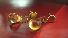 14k yellow Gold earrings with Orange yellow Citrine.Handmade dangle earrings.