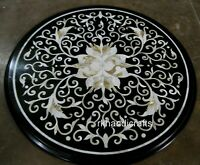 Round Marble Coffee Table Top Inlay Floral Art Center Table with Mother of Pearl