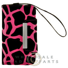 Apple iPhone 4/i4S Wallet Pouch Giraffe - Hot Pink Cover Shell Protector Guard
