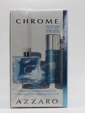 Chrome Cologne by Azzaro 2 PC Set for Men (3.4 Oz EDT + 5.1 Oz Deo Spray)