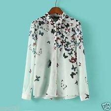 "WOMENS BUTTERFLY PRINTS SHIRT TOP BLOUSE NEW SMALL SIZE BUST SIZE 36"" 91 CM"