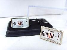 Detective Magnum Pi Robin 1 número de placa Para Hombre Colleras Gemelos De Regalo