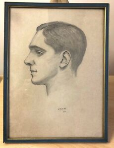 ORIGINAL 1935 SIGNED WOLFRAM ONSLOW-FORD FRAMED PENCIL SKETCH OF YOUNG MAN
