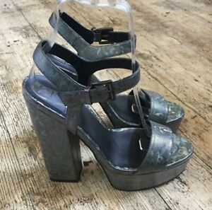 ASOS Dark Silver Grey HOLOGRAPHIC Effect Platform Sandals Party UK 4 Block Heel