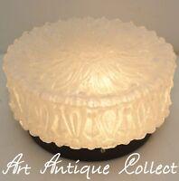 70er Decken / Wand-Leuchte Plafoniere Flush Mount Ceiling Lamp Clear Ice Glass