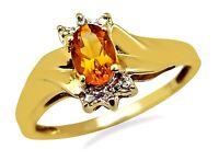 Women's .66 ct Citrine & Diamond Gemstone Ring in 10k Solid Gold