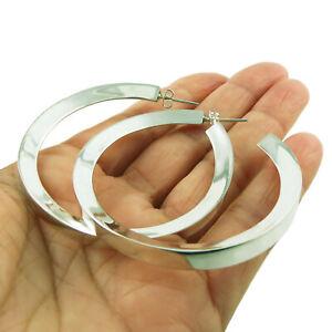 Large Hoops 925 Sterling Silver Wide Edge Hoop Earrings