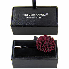 New in box Men's Suit chest buckle brooch burgundy flower lapel pin formal Prom