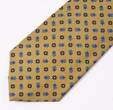 """New E.MARINELLA NAPOLI Ochre Gold-Blue Floral Print Classic 3.5"""" Silk Tie"""