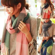 Women's Girls Long Winter Warm Cashmere Check Pashmina Tassels Shawl Wrap Scarfs