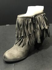NEW Not Rated Women's Auriga Ankle Fringe Grey Booties Size US 6/EUR 36.5