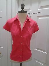 Lacoste COTTON LUXTE FRANCE Buttons Stretch Luxury Career FITTED Top SZ 36