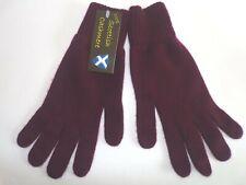 Scottish 100% 4 ply cashmere knitted warm soft finger gloves Mens Claret wine