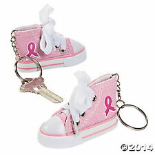 12 Pink Ribbon Tennis Shoe Key Chains Breast Cancer Awareness NEW SEALED LOT