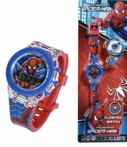Spiderman Avengers 3D Glow Marvel LED Wrist Musical Flash Light Watch Birthday