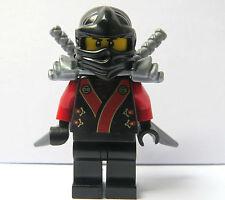 Lego Ninjago Black Ninja Minifigure Figure Silver Armour Swords Red Kimono