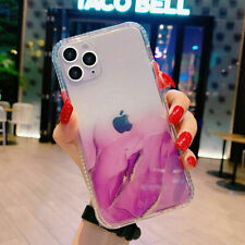 For iPhone12/Pro/Mini/Xr/XS/11 Clear Marble Shockproof Case Glitter Bling Cover