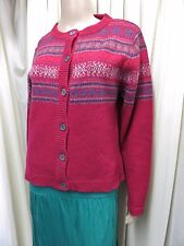 STUNNING WOOLOVERS RED MIX PURE NEW WOOL CARDIGAN SIZE M