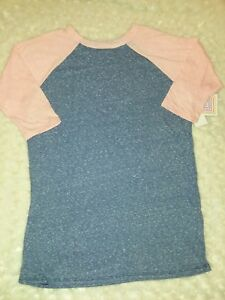 Lularoe Kids Sloan Blue Light Orange Raglan Sleeve Top Sz 14 Girls Nwt Solid