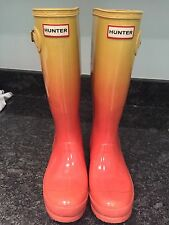 Kids Hunter Rain Boots, Original Tall, Gloss, Color Haze, Sunset/Hay Size 5 EUC