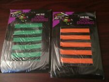 Ladies Stripy Halloween Stockings - Two Pairs One Size Orange and Green (NEW)