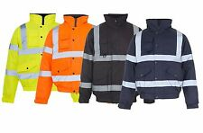 High Viz Bomber jackets Visibility Work Waterproof  Padded Jacket Coat