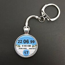 Personalised 17th Birthday Car Tax Disc Pendant On A Snake Keyring Gift N761