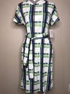 LULAROE Marly Women's Pocket Dress Size XS White Plaid. 2