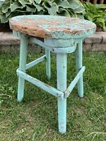 Antique Vintage Primitive Painted Wooden Farmhouse Stool Seat