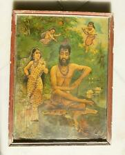 Antique Old Ravi Varma Signed Hindu VISWAMITRA TAPOBHANG Silver Work Litho Print