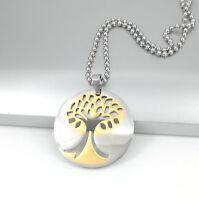 Baum des Lebens Edelstahl Kette Anhänger Silberkette 60cm Halskette Damen Herren
