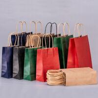 25Pcs Bulk Kraft Paper Bags Craft Gift Shopping Bag Carry Bag Handles Recyclab