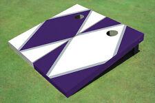 White And Purple Alternating Diamond Custom Cornhole Board