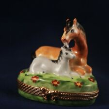 Limoges Trinket Box. Mother horse with foal.