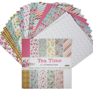 24Pc 6'' Tea Time Paper Pad Sheet Single-sided DIY Scrapbooking Card Craft