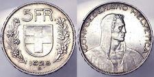 SVIZZERA SWITZERLAND 5 FRANCHI FRANCS 1926 ARGENTO SILVER #5283A
