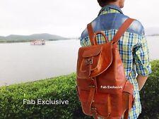 Mens Genuine Leather Vintage Laptop Backpack Rucksack Messenger Bag Satchel sac