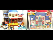 Vintage 1997 Fisher Price Grand Doll House Loving Family +Furniture/People w/BOX
