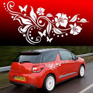 2x Butterfly Flower Vinyl Car Graphics Stickers  Decals Butterfly Design