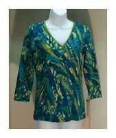 NWT $50 Ruby Rd. Multi-Color 3/4 Sleeve Tunic Top Blouse Size: S