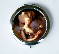 Marie Antoinette Compact Mirror Pocket Mirror holding a Rose French Queen