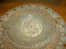 """Vintage Indiana Clear Glass Honeycomb Candy Trinket Dish with Handles 9"""""""