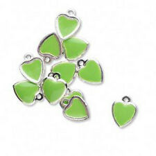 Heart Charms Drop Green Epoxy Silver Jewelry Lot of 12