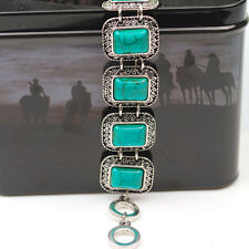 Fashion Jewelry Tibetan Silver Square Turquoise Stone Clasp Bracelet Bangle