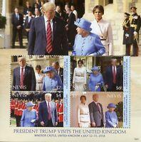 Nevis Stamps 2018 MNH Donald Trump UK Visit Queen Elizabeth II Royalty 4v M/S