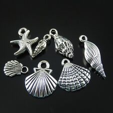 15pcs Assorted Antiqued Silver Alloy Sea Shells Necklace Pendant Jewelry Gifts