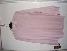 """Mens 15.5"""" Collar Van Heusen Long Sleeve Pink Shirt with White and Blue Stripes"""