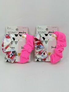Scunci 4 Hair Scrunchies Work( (Floral) & Workout (Hot Pink) 2 pcs each